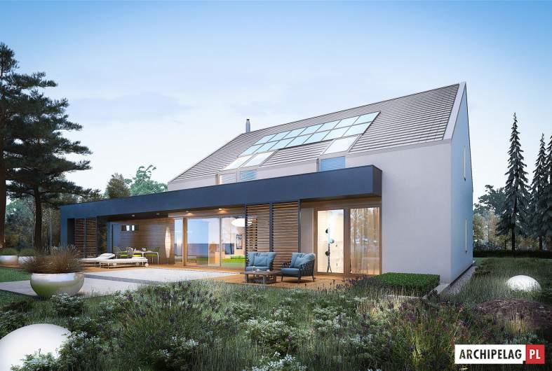 Projekt domu EX 18 G2 ENERGO PLUS - wizualizacja ogrodowa nocna