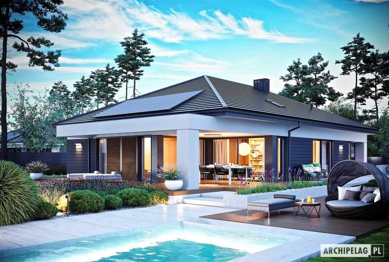 Projekt domu Alison III G2 - wizualizacja ogrodowa nocna