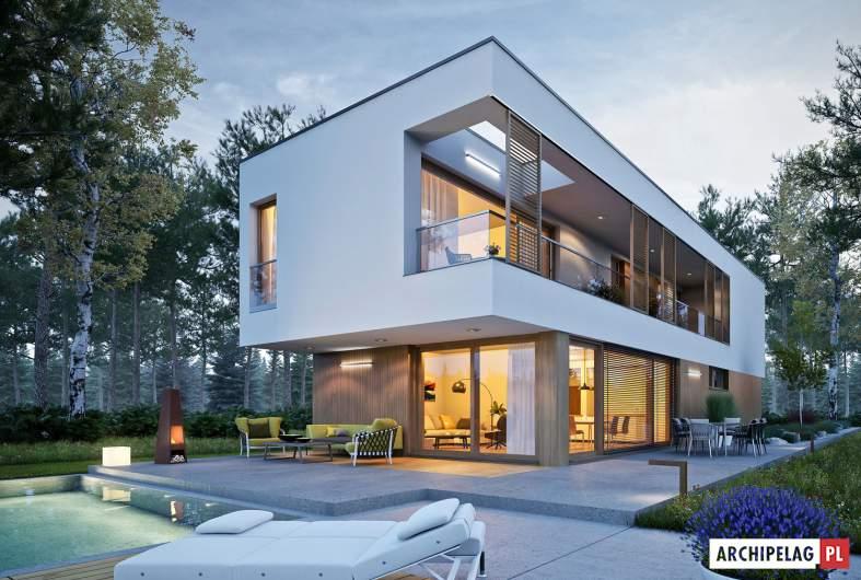 Projekt domu EX 17 W2 - wizualizacja ogrodowa nocna