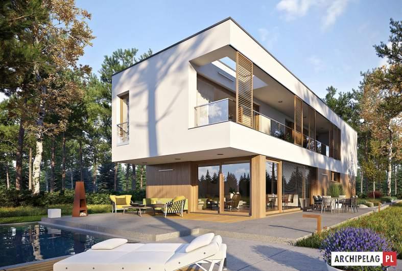 Projekt domu EX 17 W2 - wizualizacja ogrodowa