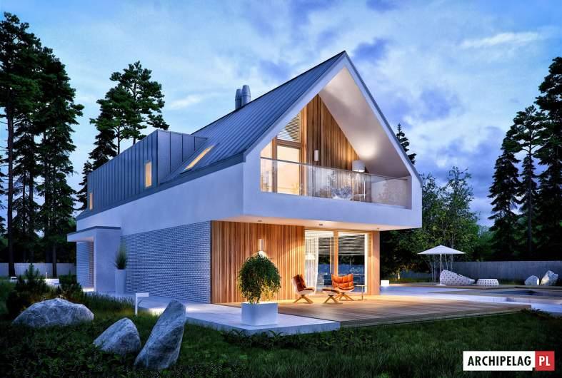 Projekt domu EX 20 G2 ENERGO PLUS - wizualizacja ogrodowa nocna