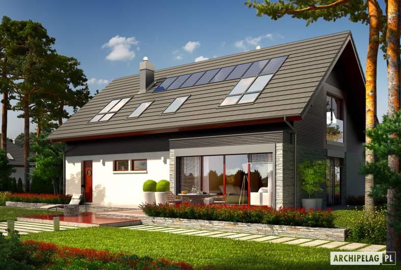 Projekt domu Benjamin G1 ENERGO - wizualizacja ogrodowa