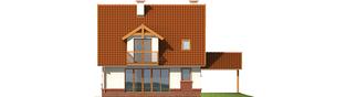 Projekt domu Ciri (z wiatą) - elewacja tylna