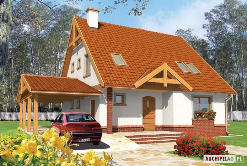 Projekt domu Ciri (z wiatą) - wizualizacja frontowa