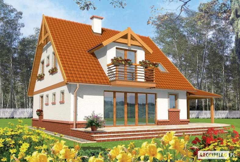 Projekt domu Ciri (z wiatą) - wizualizacja ogrodowa