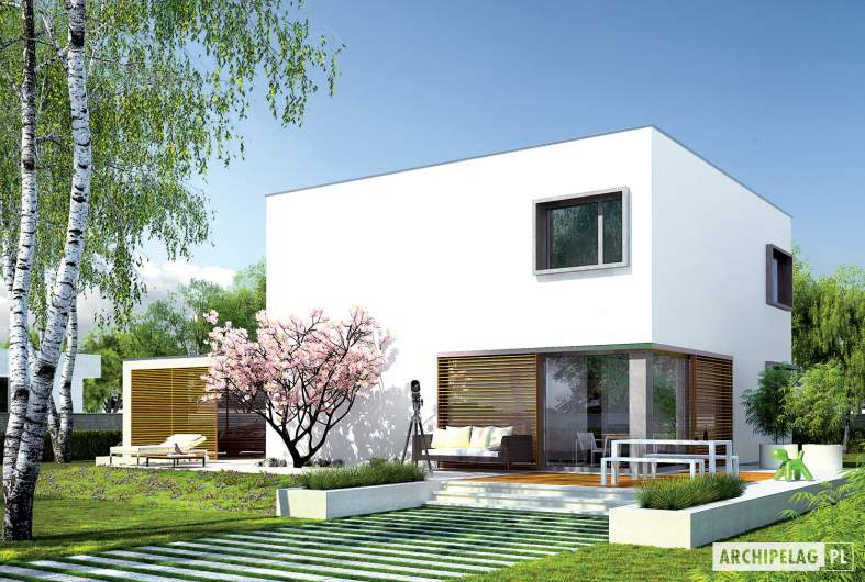 Projekt domu EX 10 (z wiatą) soft - wizualizacja ogrodowa