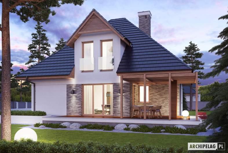 Projekt domu Tilda G1 - Projekty domów ARCHIPELAG - Tilda G1 - wizualizacja ogrodowa nocna