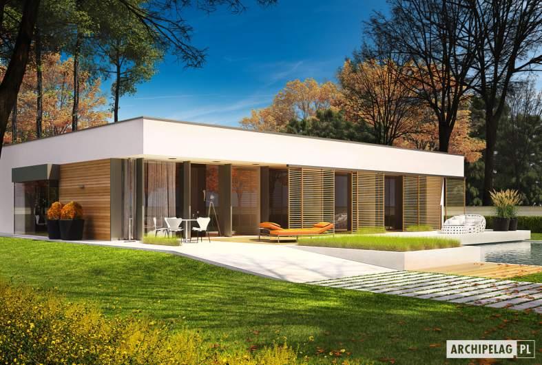 Projekt domu EX 7 (z wiatą) - wizualizacja ogrodowa