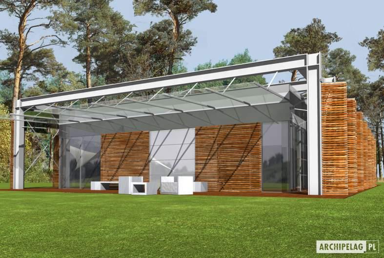 Projekt domu Horacy (z wiatą) - wizualizacja ogrodowa