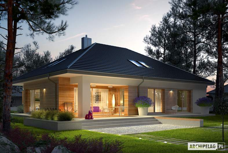 Projekt domu Marcel III G2 - wizualizacja ogrodowa nocna