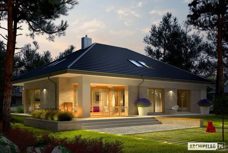 Projekt domu Marcel IV G2 - wizualizacja ogrodowa nocna