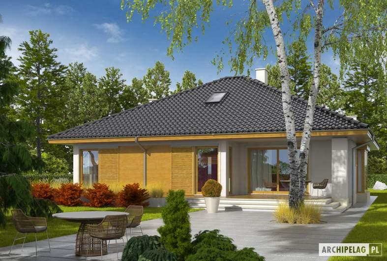 Projekt domu Flori III ECONOMIC (wersja A) 30 stopni - wizualizacja ogrodowa