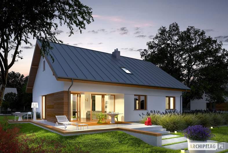 Projekt domu Swen - wizualizacja ogrodowa nocna