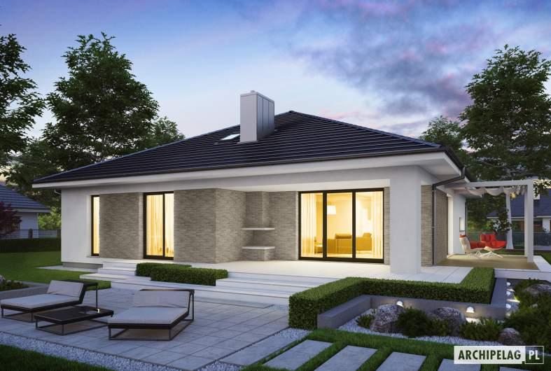 Projekt domu Irma III G1 ENERGO PLUS - wizualizacja ogrodowa nocna