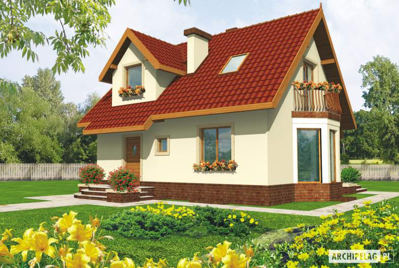 Projekt domu Megi (z piwnicą) - wizualizacja frontowa