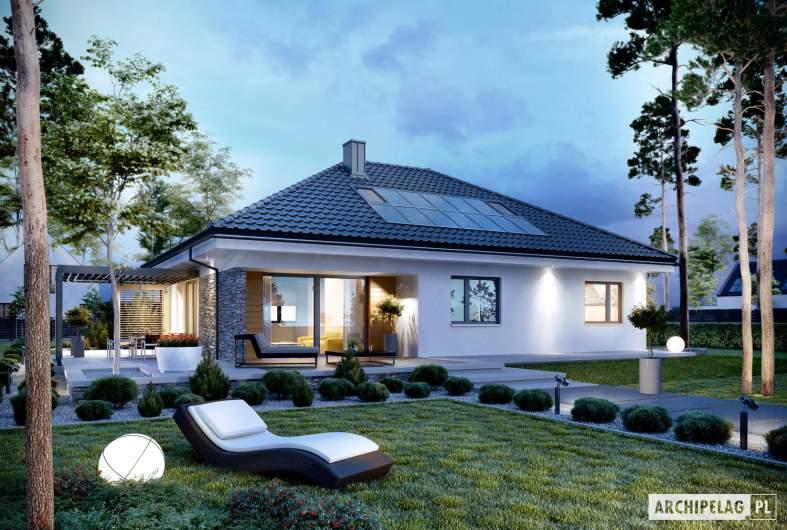 Projekt domu Astrid (mała) G2 - wizualizacja ogrodowa nocna
