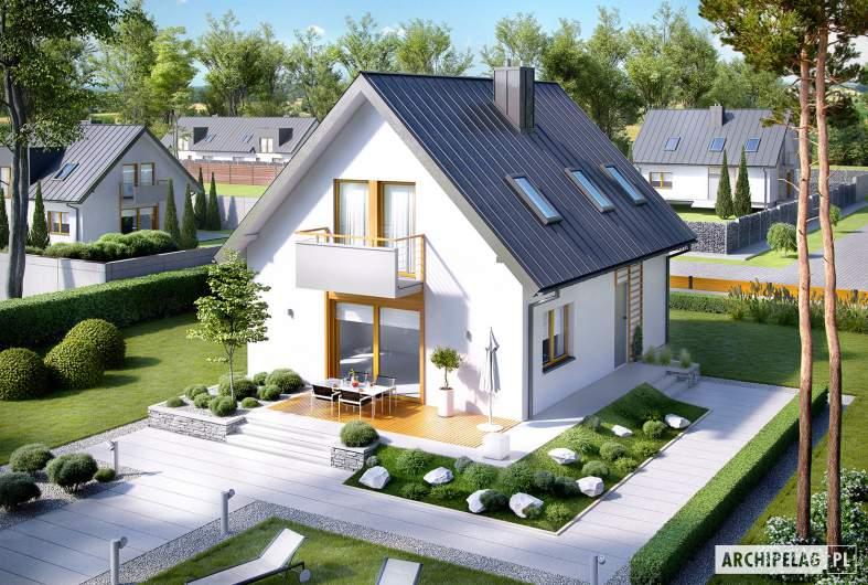 Projekt domu z poddaszem Andreas - widok z góry
