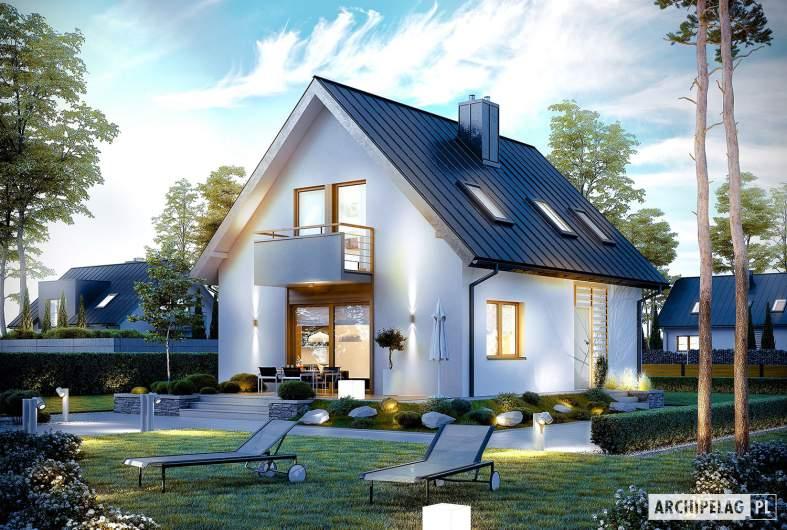 Projekt domu z poddaszem Andreas - wizualizacja ogrodowa nocna