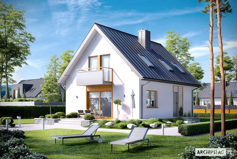 Projekt domu z poddaszem Andreas - wizualizacja ogrodowa