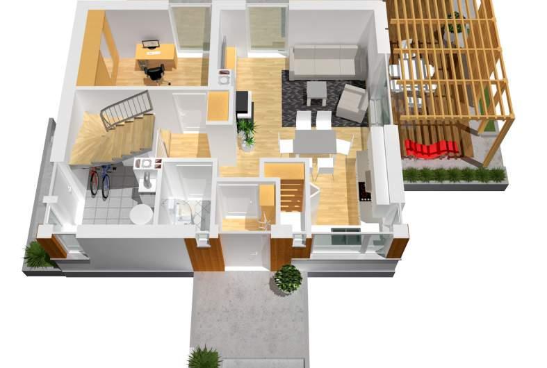 Projekt domu Lea (wersja A) - wizualizacja parteru