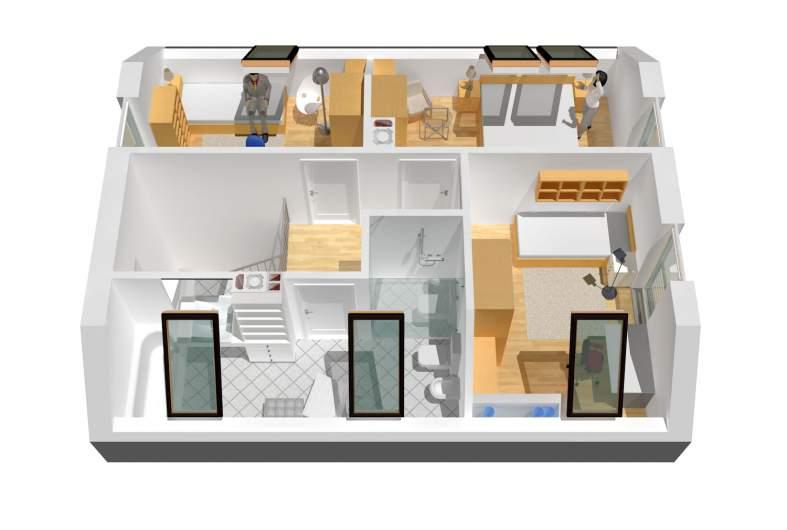 Projekt domu Lea (wersja A) - wizualizacja poddasza
