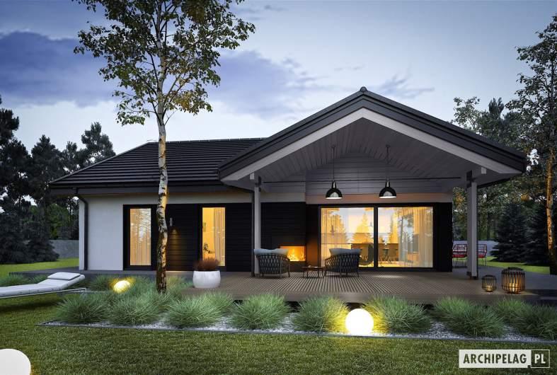 Projekt domu Simon III G2 ENERGO PLUS - wizualizacja ogrodowa nocna