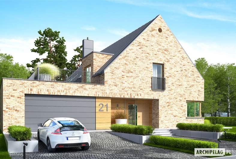 Projekt domu Teodor G2 (wersja B) - wizualizacja frontowa