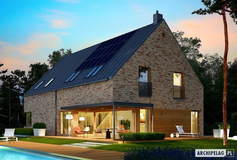 Projekt domu Teodor G2 (wersja B) - wizualizacja ogrodowa nocna
