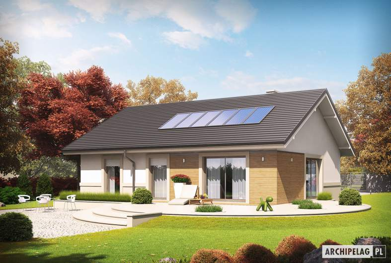 Projekt domu Kornel IV ENERGO - wizualizacja ogrodowa