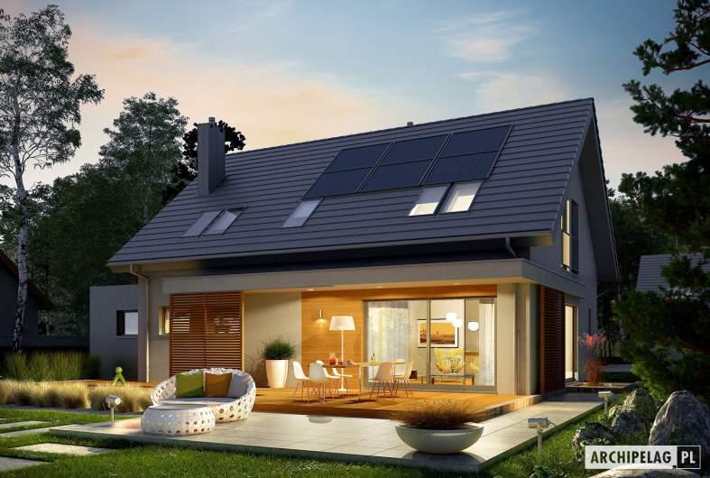 Projekt domu Logan G1 - wizualizacja ogrodowa nocna