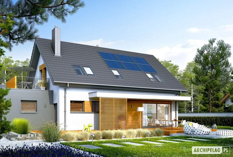 Projekt domu Logan G1 - wizualizacja ogrodowa lewa