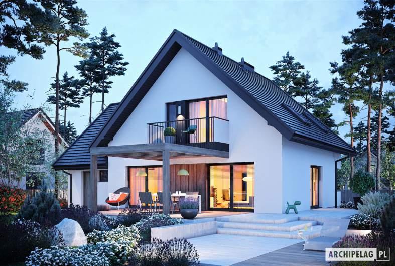 Projekt domu Mini 8 w. II G1 - wizualizacja ogrodowa nocna