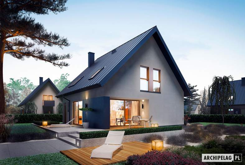 Projekt domu Mini 5 - wizualizacja ogrodowa nocna