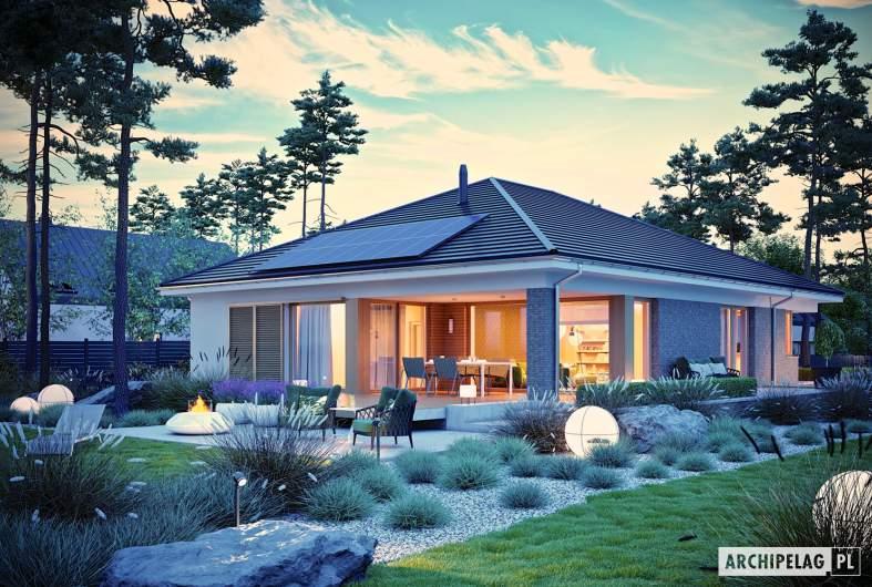 Projekt domu Alison G2 - wizualizacja ogrodowa nocna