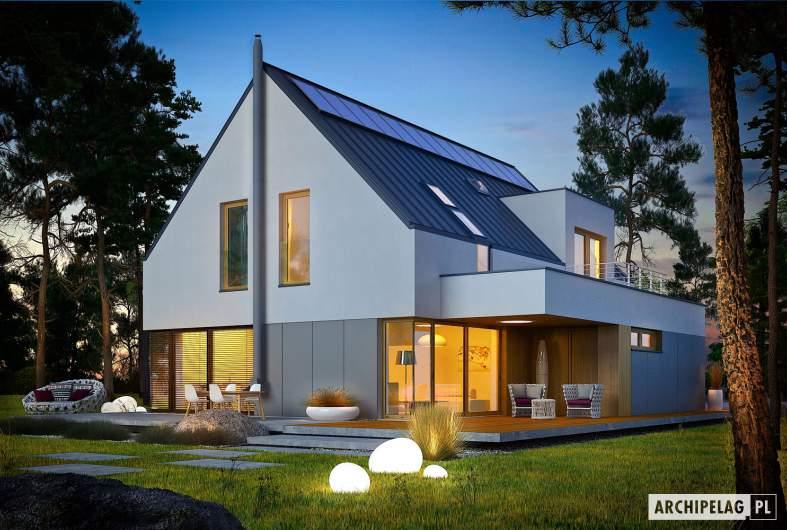 Projekt domu Adam G2 ENERGO PLUS - wizualizacja ogrodowa nocna