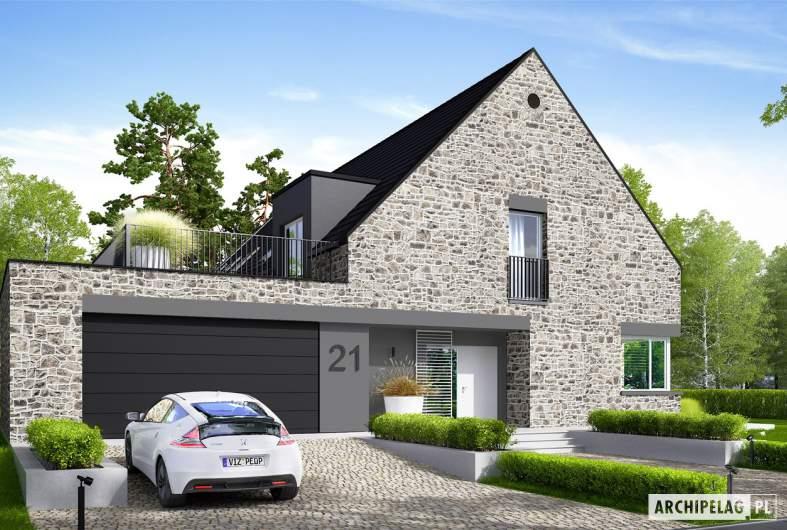 Projekt domu Teodor G2 (wersja C) ENERGO PLUS reco - wizualizacja frontowa