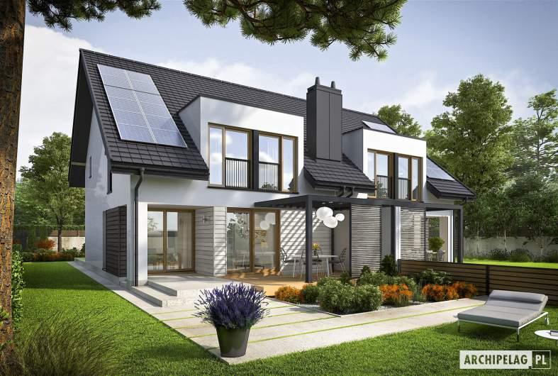 Projekt domu Konrad G1 (bliźniak) ENERGO PLUS - wizualizacja ogrodowa