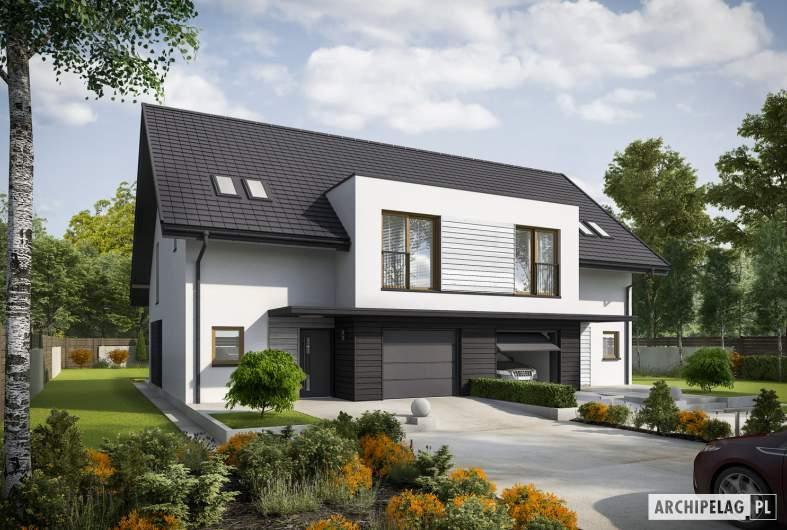 Projekt domu Konrad G1 (bliźniak) ENERGO PLUS - wizualizacja frontowa