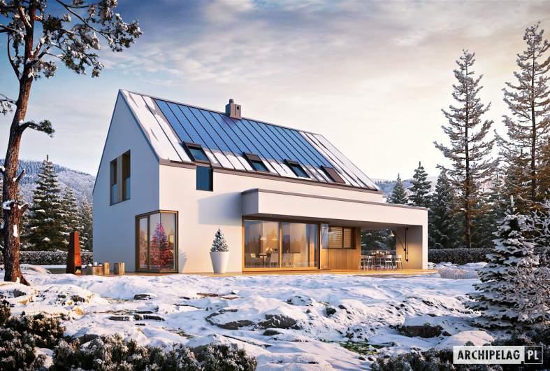 Projekt domu Malkolm G2 ENERGO PLUS - wizualizacja ogrodowa zimowa
