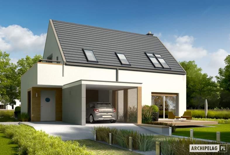 Projekt domu Oskar ENERGO - wizualizacja frontowa lewa