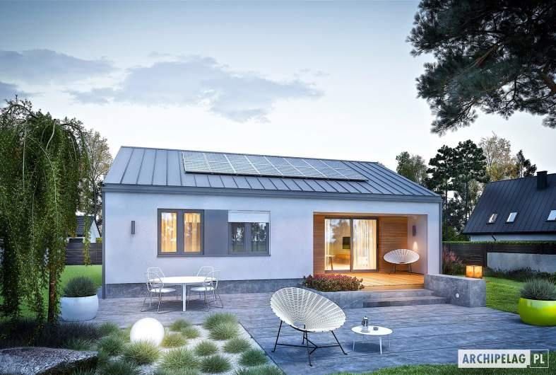 Projekt domu Mini 3 PLUS - wizualizacja ogrodowa nocna