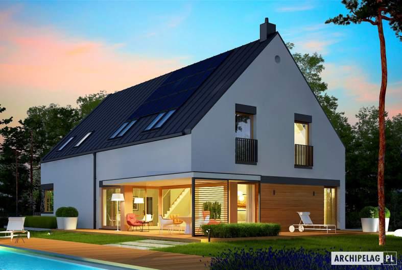 Projekt domu Teodor G2 (wersja C) - wizualizacja ogrodowa nocna