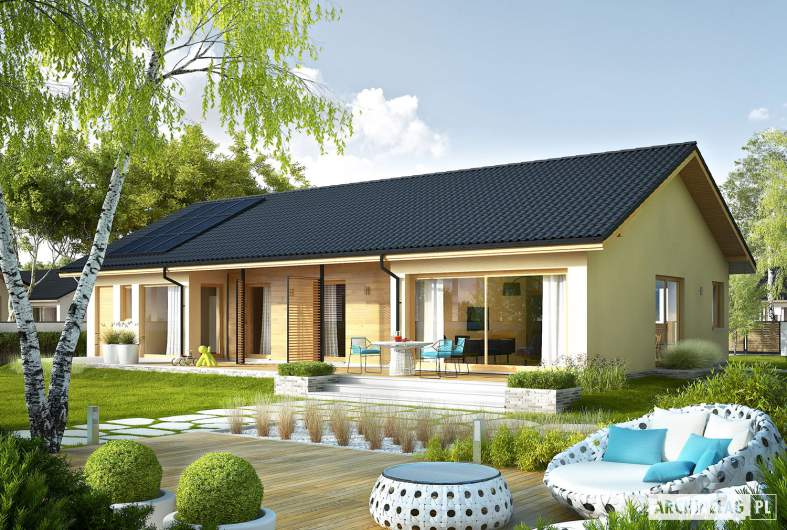 Projekt domu Eryk IV G1 ECONOMIC - wizualizacja ogrodowa