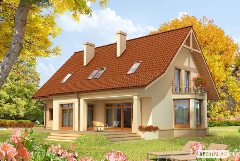 Projekt domu Blanka G1 - wizualizacja ogrodowa