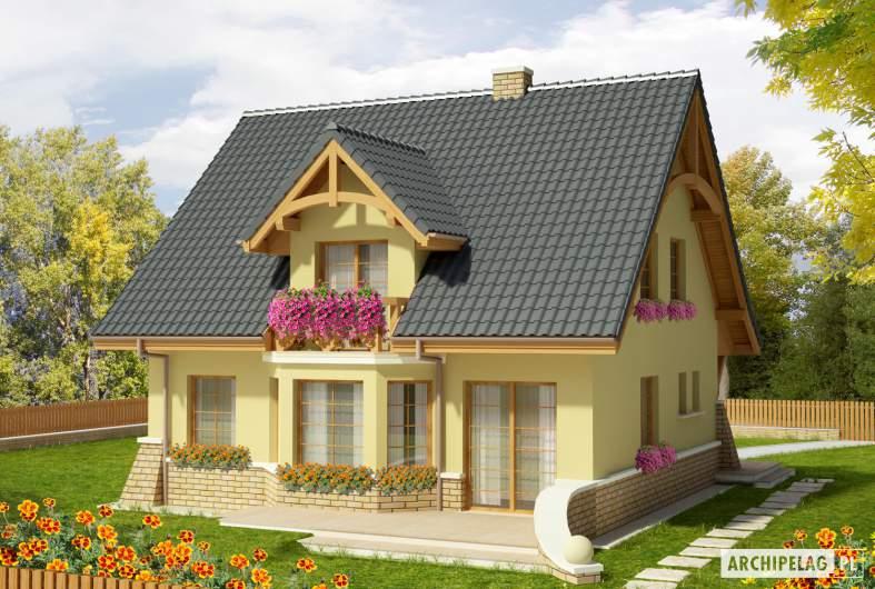 Projekt domu Konwalia - wizualizacja ogrodowa