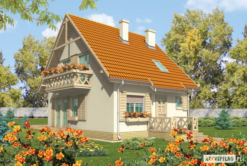 Projekt domu Śnieżynka - wizualizacja frontowa