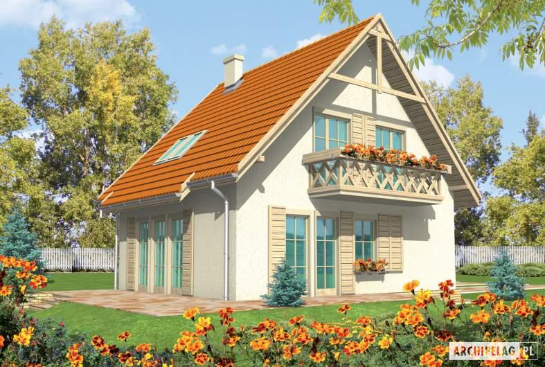 Projekt domu Śnieżynka - wizualizacja ogrodowa