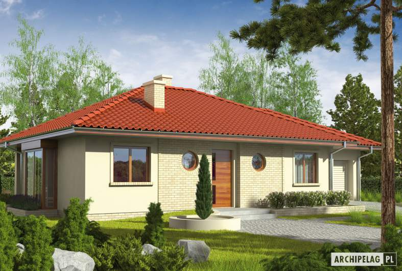 Projekt domu Margo G1 (30 stopni) - wizualizacja frontowa