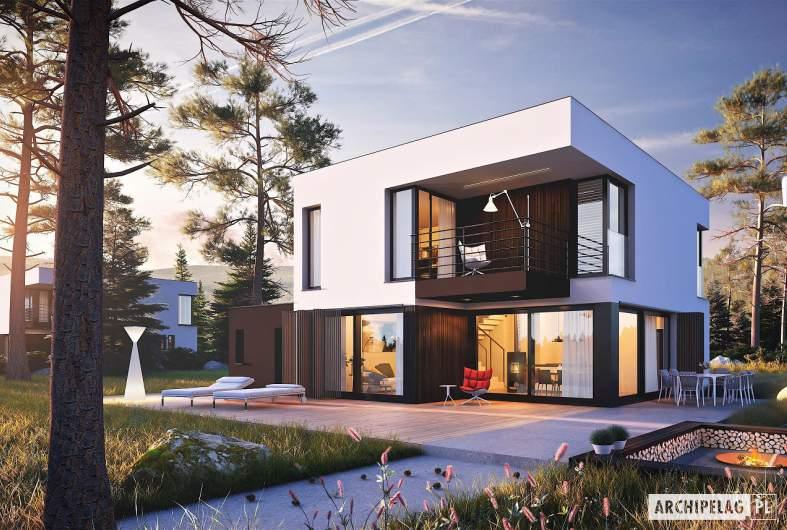 Projekt domu EX 2 G1 ENERGO PLUS - wizualizacja ogrodowa nocna