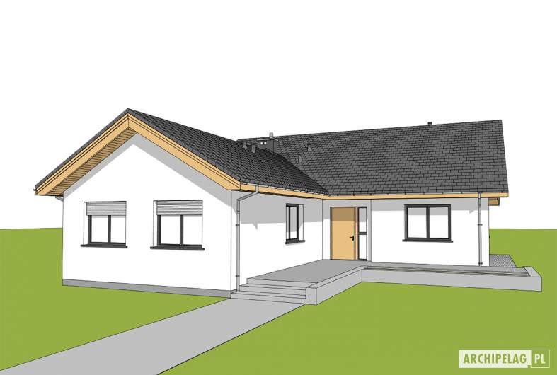 Projekt domu Simon 01 (dwulokalowy) - widok od frontu